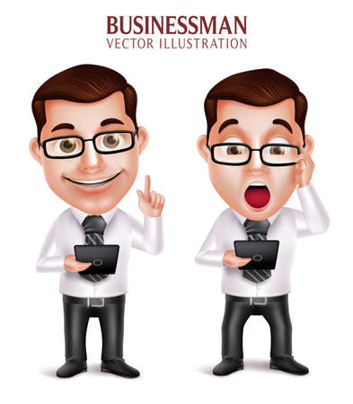 3D Realistic Professional Business Man Vector Character Holding Mobile Tablet Shocked and Speaking Isolated in White Background. Vector Illustration