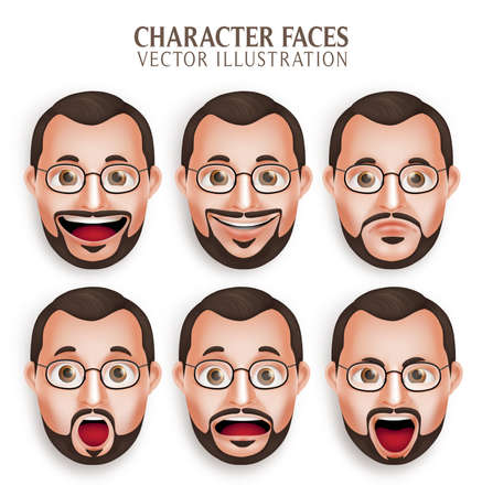 Illustration for Set of 3D Realistic Old Beard Man Head with Different Facial Expression Isolated in White Background. Illustration - Royalty Free Image