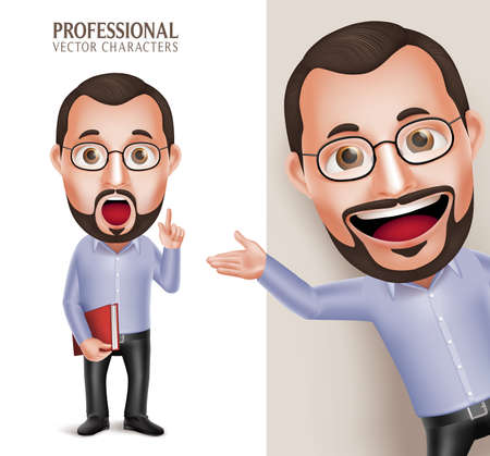 Illustration pour 3D Realistic Professional Funny Old Professor Teacher Man Character Holding Book with Eyeglasses Isolated in White Background. Illustration - image libre de droit