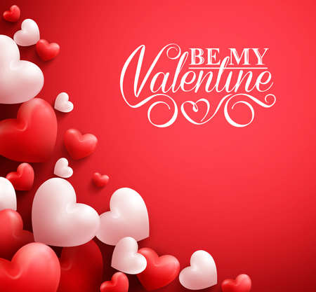 Realistic 3D Colorful Soft and Smooth Valentine Hearts in Red Background with Happy Valentines Day Greetings. Illustration