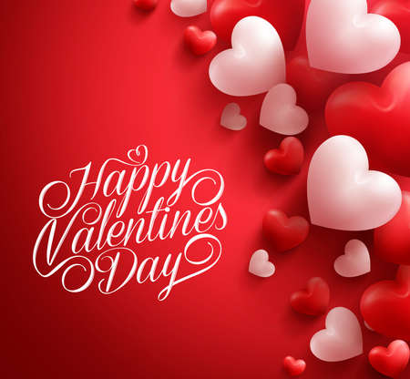 Illustration pour Realistic 3D Colorful Soft and Smooth Valentine Hearts in Red Background Floating with Happy Valentines Day Greetings.  Illustration - image libre de droit