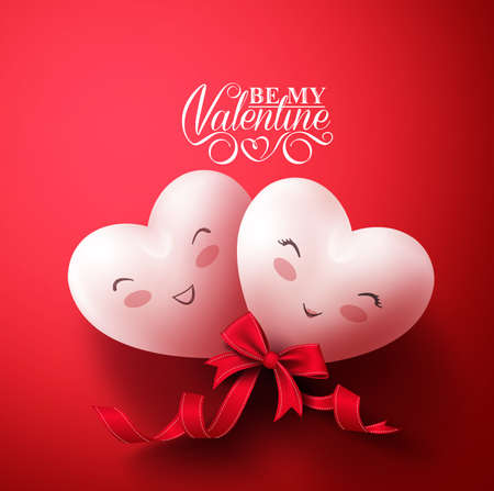 Sweet Smiling Hearts of Happy Lovers for Happy Valentines Day Greetings in Red Background with Ribbon. Vector Illustration