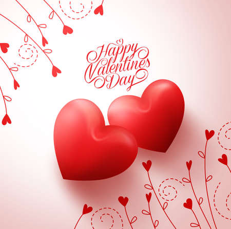 Illustration for Two Red Hearts for Lovers with Happy Valentines Day Greetings in White Background with Flowers  Vine Pattern. Vector Illustration - Royalty Free Image