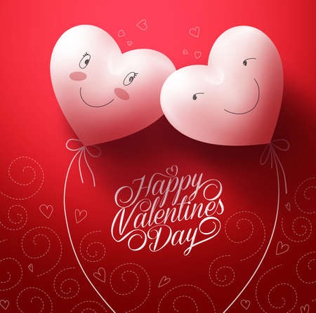 Illustration for Two White Hearts Inlove with Happy Face for Valentines day Greetings Card with Pattern Red Background. Vector Illustration - Royalty Free Image