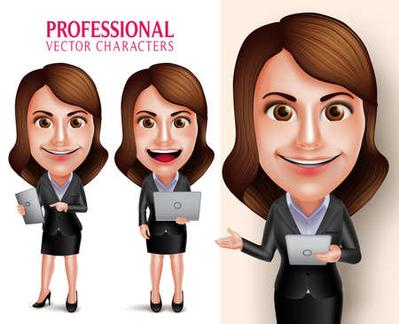 Ilustración de Set of 3D Realistic Professional Woman Character with Business Outfit Happy Smiling Holding Mobile Tablet and Laptop Isolated in White Background. Vector Illustration - Imagen libre de derechos