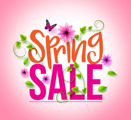 Illustration for Spring Sale Design with Colorful Flowers, Vines and Leaves with Flying Butterflies in Background for Spring Seasonal Promotion. Vector Illustration - Royalty Free Image