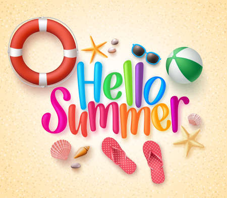 Ilustración de Hello Summer in the Sand Colorful Text and Background with Summer Season Items in the Beach. Illustration - Imagen libre de derechos