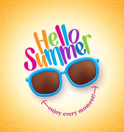 Summer Shades with Hello Summer Happy Colorful Concept in Cool Yellow Background for Summer Season.