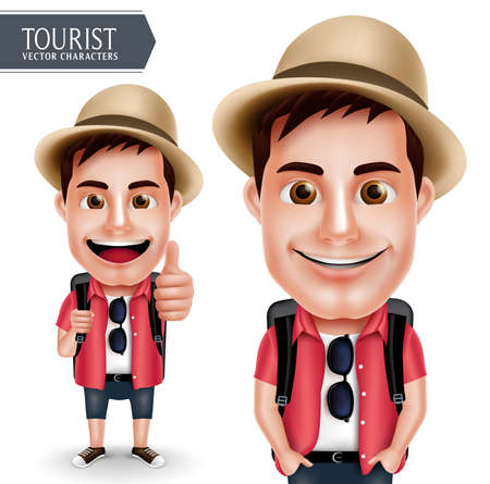 Illustration pour Tourist Traveler Man Vector Character Wearing Casual with Backpack for Travel and Hiking Isolated in White Background. Vector Characters Set - image libre de droit