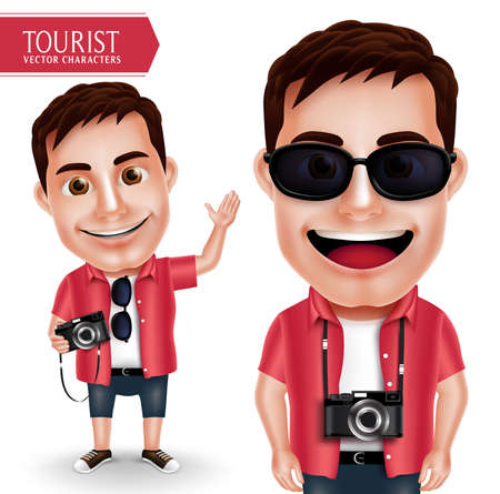 Tourist Photographer Man Vector Character Wearing Casual