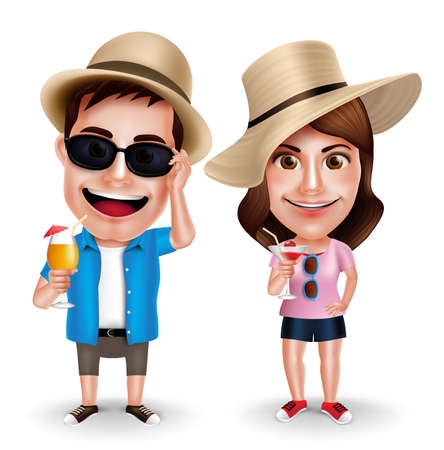 Illustration pour Summer Vacation Vector Characters of Couples Drinking Juices Wearing Casual Isolated in White Background. Vector Characters Set - image libre de droit