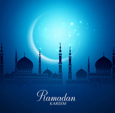 Illustration pour Crescent Moon and Silhouette Mosque in the Bright Night for Ramadan Kareem Background. Vector Illustration - image libre de droit