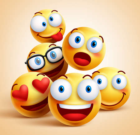 Illustration pour Smiley faces group of vector emoticon characters with funny facial expressions. 3D realistic vector illustration - image libre de droit