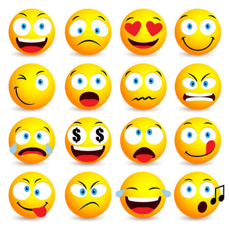 Illustration for Smiley face and emoticon simple set with facial expressions isolated in white background. Vector illustration - Royalty Free Image