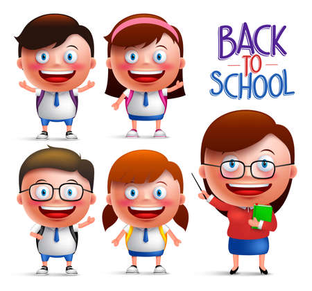 Students and teacher vector character set of boys and girls