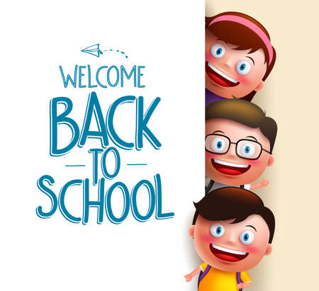 Ilustración de Kids student vector characters holding white board with blank space for text with welcome back to school written. Vector illustration - Imagen libre de derechos