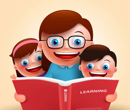 Illustration for Reading book for story telling by happy smiling teacher and kids holding red book for learning. Vector illustration - Royalty Free Image