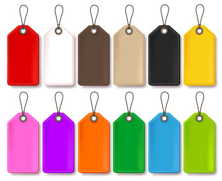 Ilustración de Colorful Vector Price Tags Collection Isolated in White Background for Store Promotional Templates with Empty Space for Text. Vector Illustration. - Imagen libre de derechos