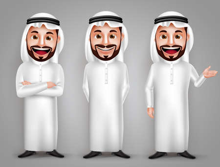 Illustration pour Saudi arab man vector character set with different friendly gesture and professional pose for business purpose. Vector illustration. - image libre de droit