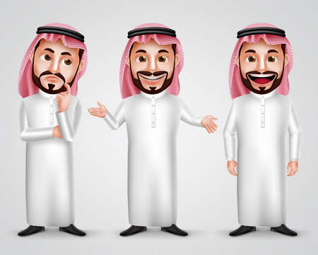 Illustration pour Saudi arab man vector character set wearing thobe and gutra with different friendly gesture like thinking, speaking and presenting. Vector illustration. - image libre de droit