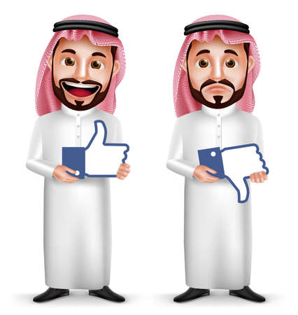 Illustration pour Saudi arab man vector character with facial expressions holding like and dislike sign icon for social media isolated in white background. Vector illustration. - image libre de droit