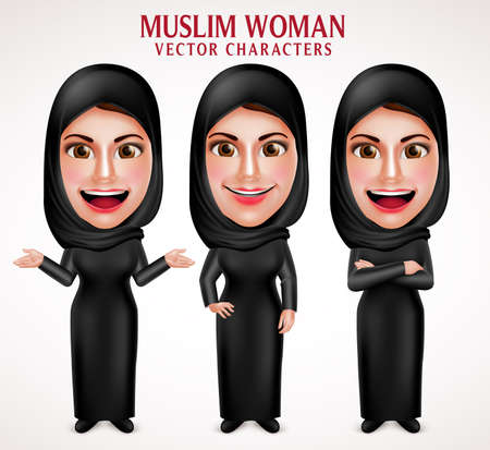 Illustration pour Muslim woman vector characters set wearing  hijab black clothes with different pose and hand gestures in white background. Vector illustration. - image libre de droit