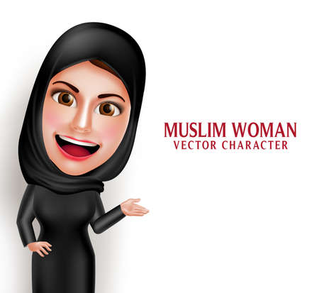 Illustration pour Muslim woman vector character presenting in empty white space with friendly beautiful smile wearing hijab and islamic clothing standing in white background. Vector illustration. - image libre de droit