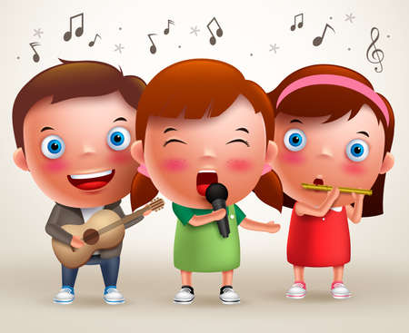 Illustration pour Vector character kids singing and playing guitar and flute while standing and performing in front of stage. Vector illustration. - image libre de droit