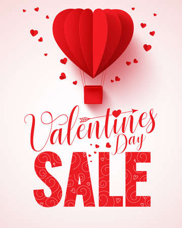 Illustration for Valentines day sale text vector design for promotion with heart shape red hot air balloon flying with hearts in white background. Vector illustration. - Royalty Free Image