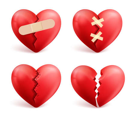 Illustration pour Broken hearts vector set of 3d realistic icons and symbols in red color with wound, patches, stitches and bandages isolated in white background. Vector illustration. - image libre de droit