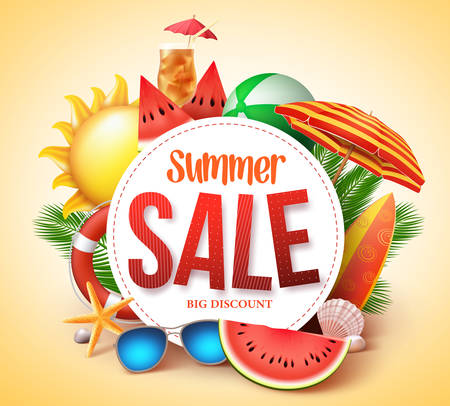 Ilustración de Summer sale vector banner design for promotion with colorful beach elements behind white circle in yellow background. Vector illustration. - Imagen libre de derechos