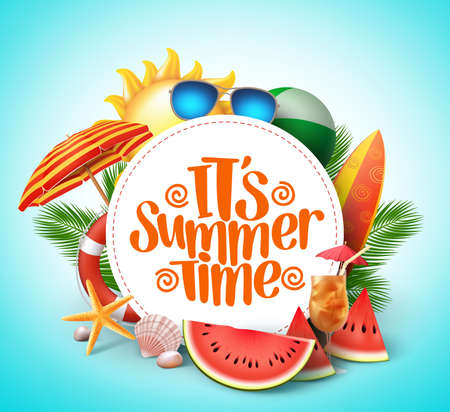 Ilustración de Summer time vector banner design with white circle for text and colorful beach elements in white background. Vector illustration. - Imagen libre de derechos