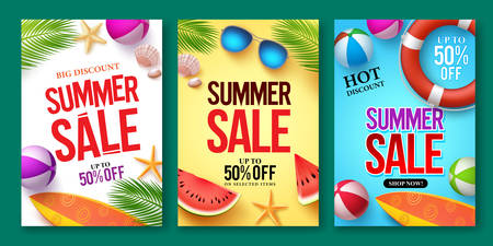 Ilustración de Summer sale vector poster set with 50% off discount text and summer elements in colorful backgrounds for store marketing promotion. Vector illustration. - Imagen libre de derechos