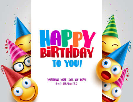 Ilustración de Happy birthday vector design with smileys wearing birthday hat in white empty space for message and text for party and celebration. Vector illustration. - Imagen libre de derechos