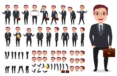 Ilustración de Businessman or office male vector character creation kit. Set of ready to use characters and create your own with poses and gestures isolated in white. - Imagen libre de derechos
