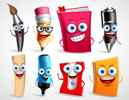 Illustration pour School characters vector illustration set. Education items 3D cartoon mascots like pencil and book for back to school elements isolated in white background. - image libre de droit