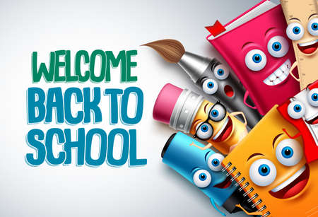 Photo pour Back to school vector characters background template with funny education cartoon mascots like pencil and book and white space for text. Vector illustration. - image libre de droit