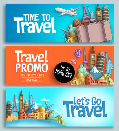 Ilustración de Travel banner set vector template design with travel and tour text and world's famous landmarks and tourist destinations elements in colorful background. - Imagen libre de derechos