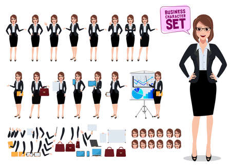 Ilustración de Female business characters set with office woman standing and talking with various pose and gesture for business presentation isolated in white. Vector illustration. - Imagen libre de derechos