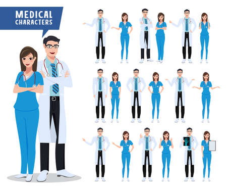 Doctor and nurse vector character set  Medical and health
