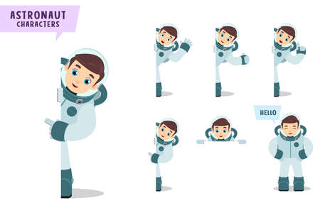 Astronauts vector character set  Spaceman cartoon character