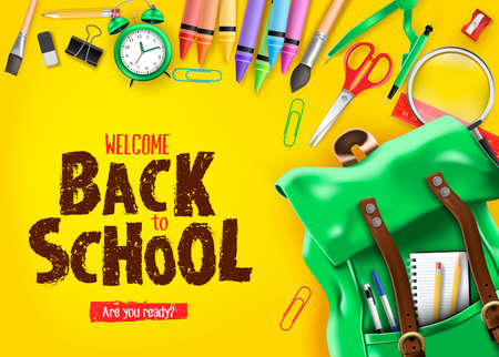 Photo for Back to School In Yellow Background Banner with Green Backpack and School Supplies Like Notebook, Pen, Pencil, Colors, Ruler, Magnifying Glass, Eraser, Paper Clip, Sharpener, Alarm Clock and Paint Brush 3D Realistic Design. Vector Illustration - Royalty Free Image