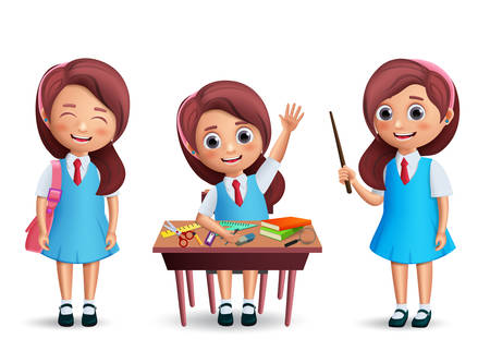 Illustration pour School girl student vector character set. Back to school kid wearing uniform with various postures like standing and studying in desk isolated in white. 3D realistic vector illustration. - image libre de droit