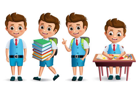 Illustration pour School boy vector character set. Back to school student wearing uniform in standing posture and drawing in desk. 3D realistic vector illustration. - image libre de droit