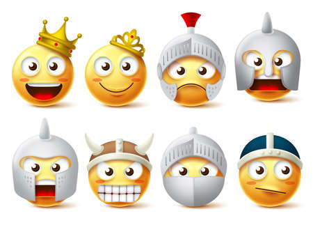 Illustration for Smiley face vector character set. - Royalty Free Image