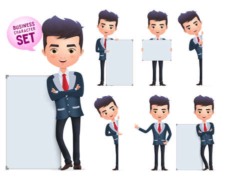 Illustration for Business man vector characters set. Male business character standing and holding blank whiteboard for presentation isolated in white background. Vector illustration. - Royalty Free Image