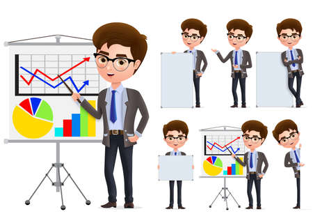Illustration pour Businessman presentation vector character set. Business man characters in presentation standing and holding blank whiteboard in white background. Vector illustration. - image libre de droit