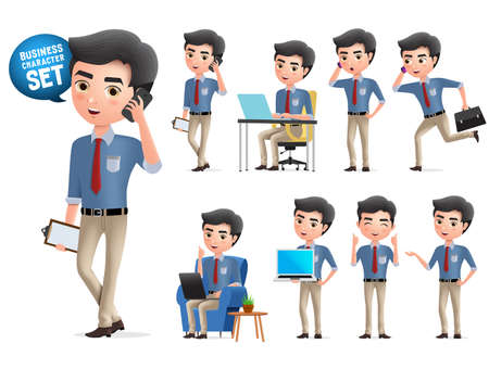 Illustration pour Male business character calling vector set. Standing business man characters calling and talking with mobile phone isolated in white background. Vector illustration. - image libre de droit