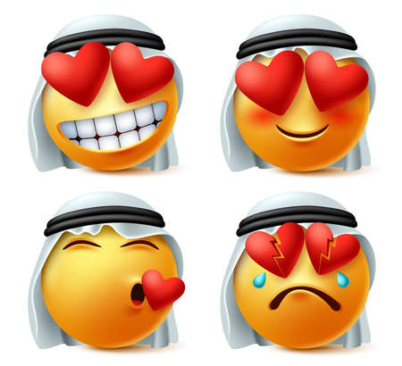 Illustration for Arab emoticon of heart and love vector emoji set. Saudi arabian emoticon cute face in in love, broken, hurt and loved expression wearing traditional agal and ghutra isolated in white background. - Royalty Free Image