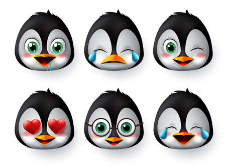 Illustration for Emoticon or emojis penguin face vector set. Penguins emoji animal faces with in love, crying, laughing, cute and hungry facial expressions character isolated in white background. Vector illustration. - Royalty Free Image